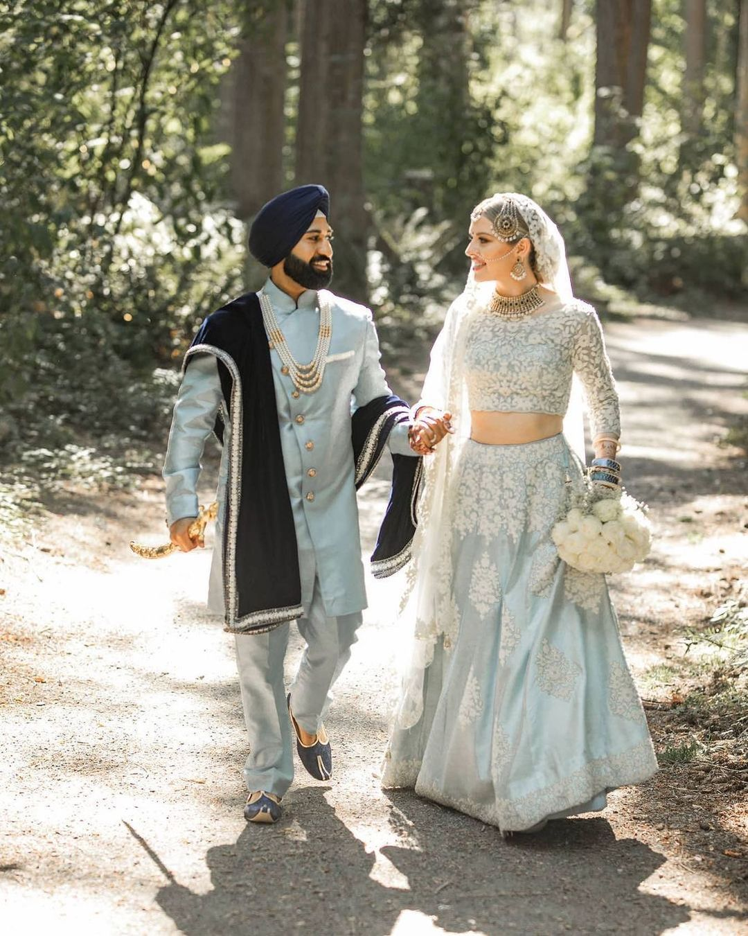 Powder blue pastel groom outfit