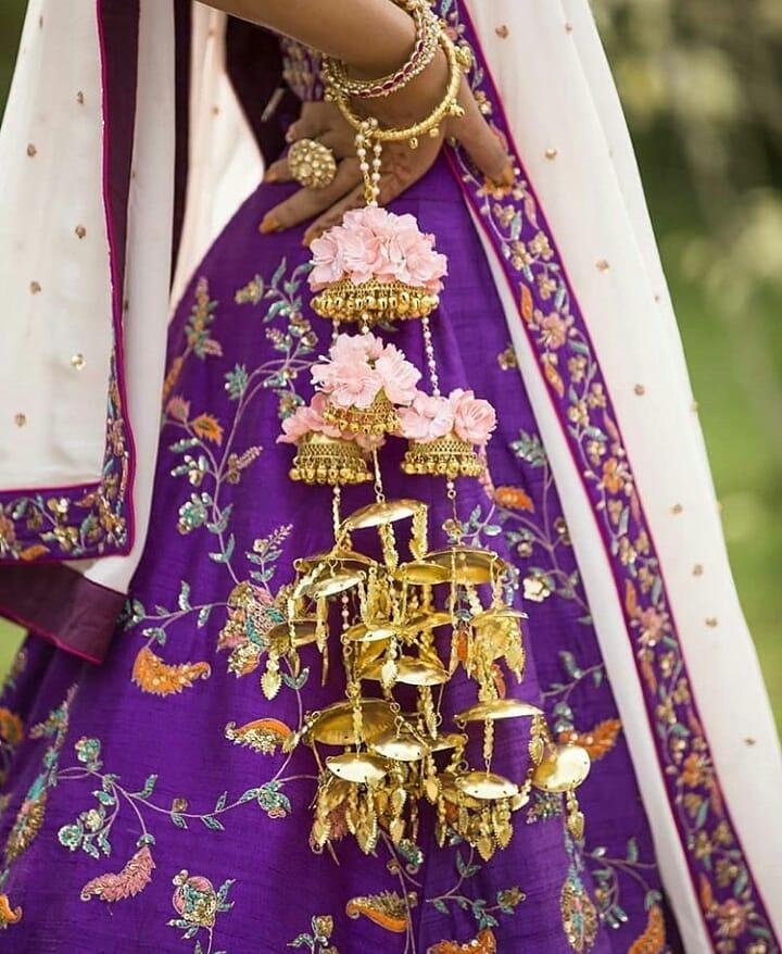 Purple Lehenga with Floral Kaleera