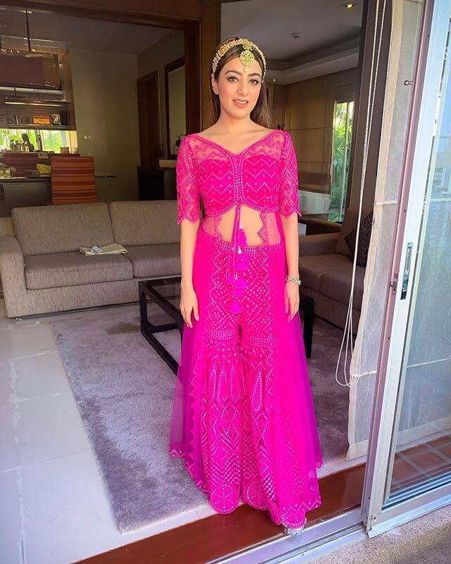 Rani pink Sharara intimate wedding outfit