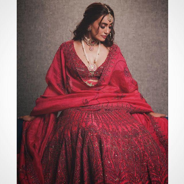 Red Bridesmaids Lehenga Surbhi