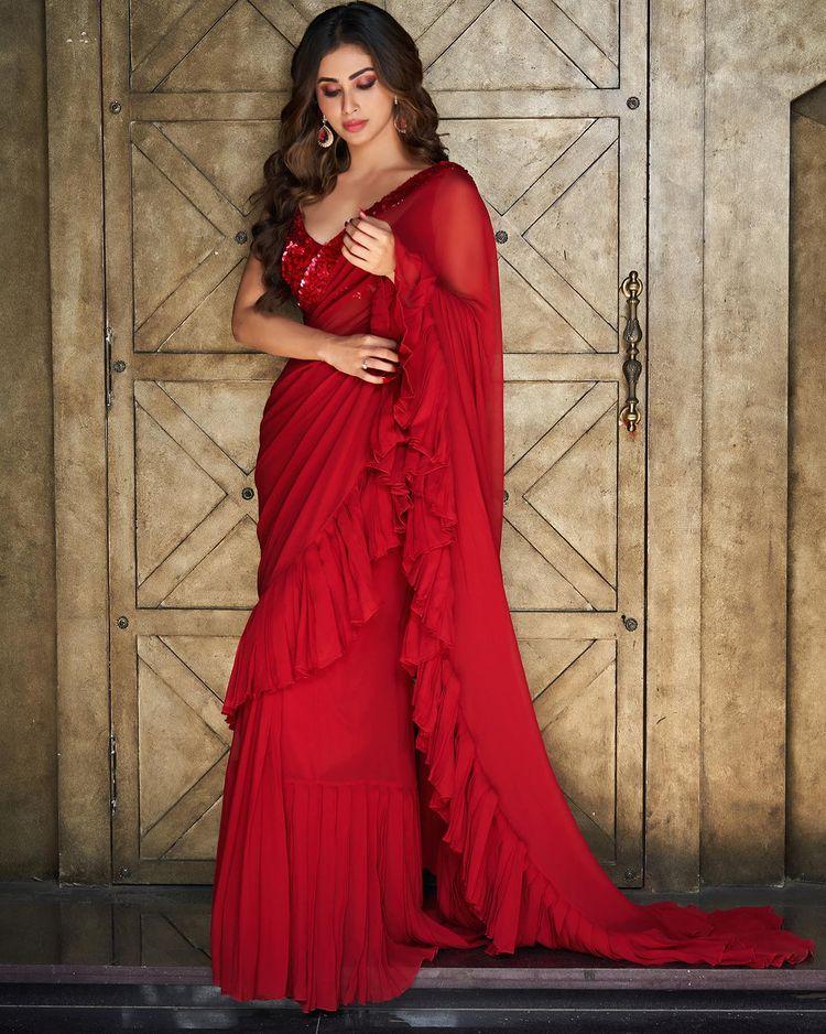 Red Saree Bridesmaids Outfit