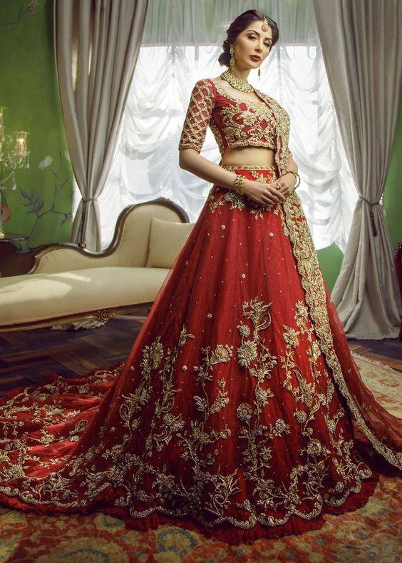 Red bridal long lehenga trail