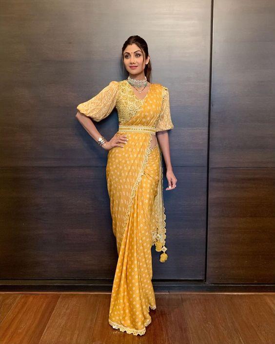 Shilpa Shetty Yellow Belted Saree