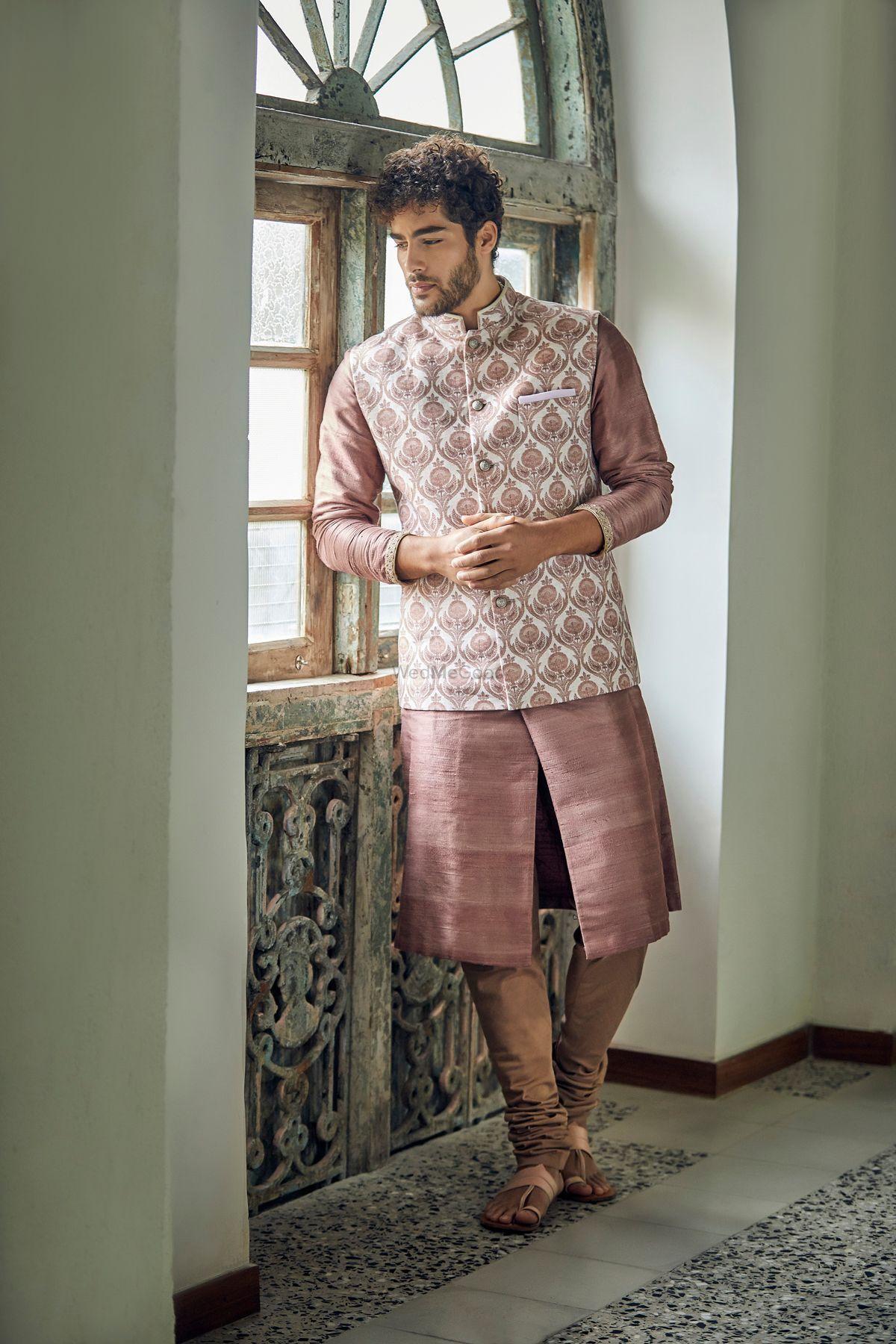 Stylish pastel nehru jacket for grooms
