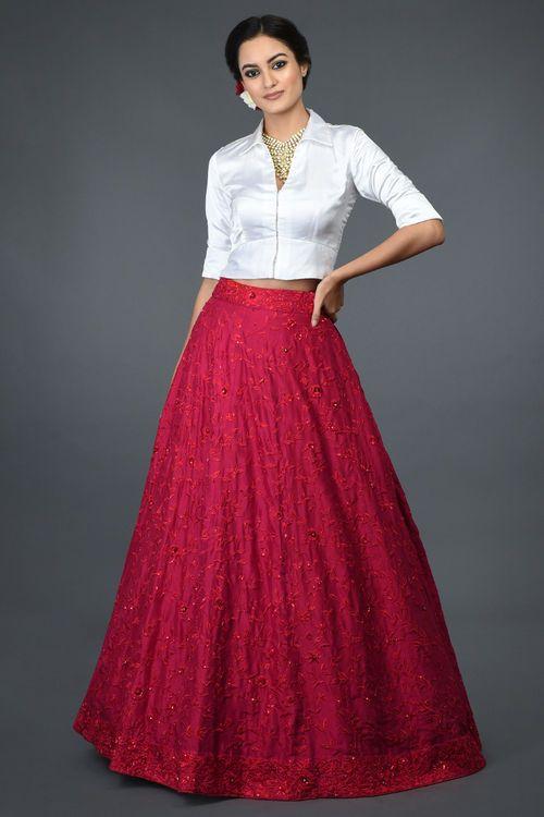White Crop Top Shirt with Red Skirt Lehenga