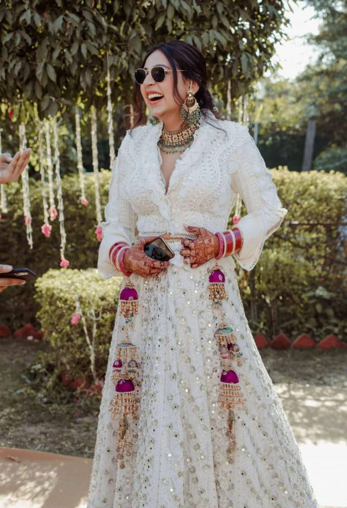 White Lace Lehenga for intimate wedding outfit