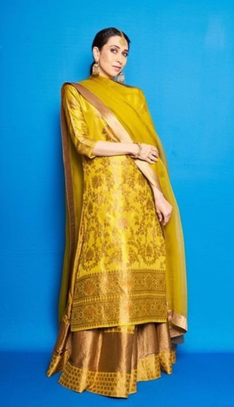 Yellow Brocade Lehenga Set