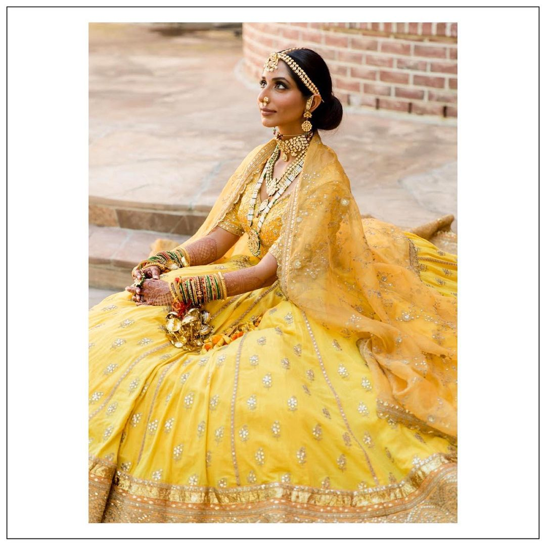 Yellow bridal lehenga sabyasachi