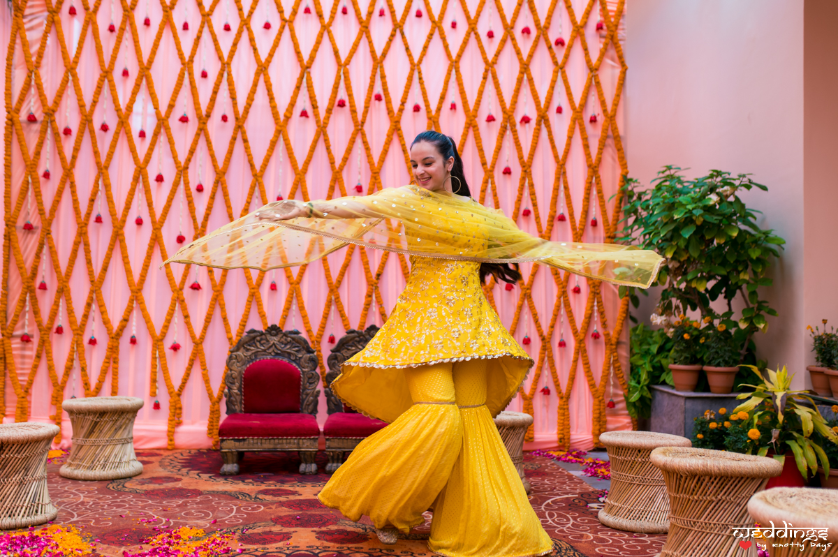Yellow sharara outfit for intimate weddings