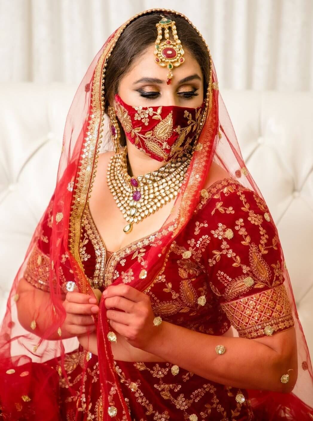 bridal velvet mask
