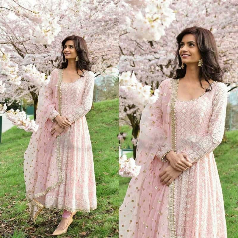 baby pink Anarkali outfits