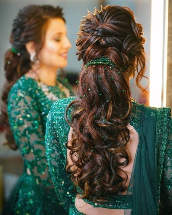 beaded hairstyle for bridal looks