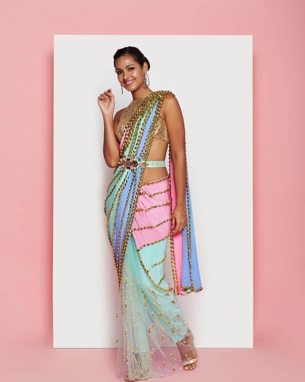 multicolour ombre saree