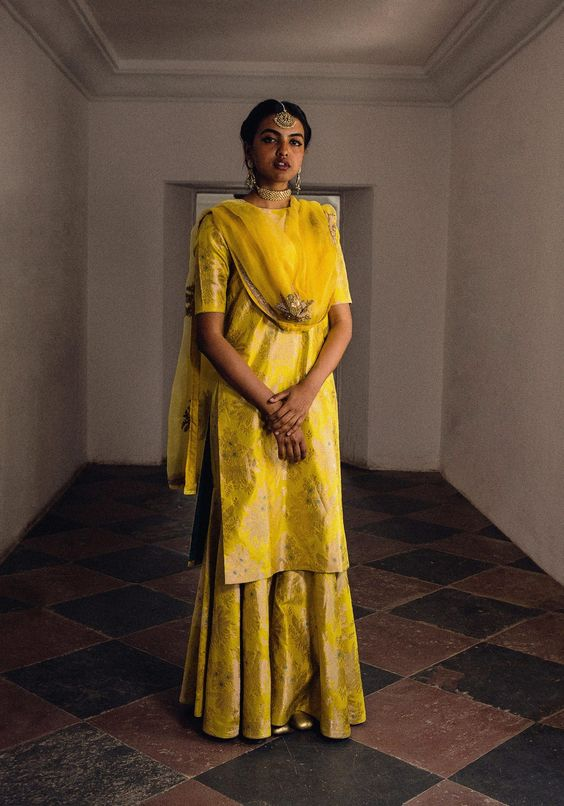 brocade yellow suit