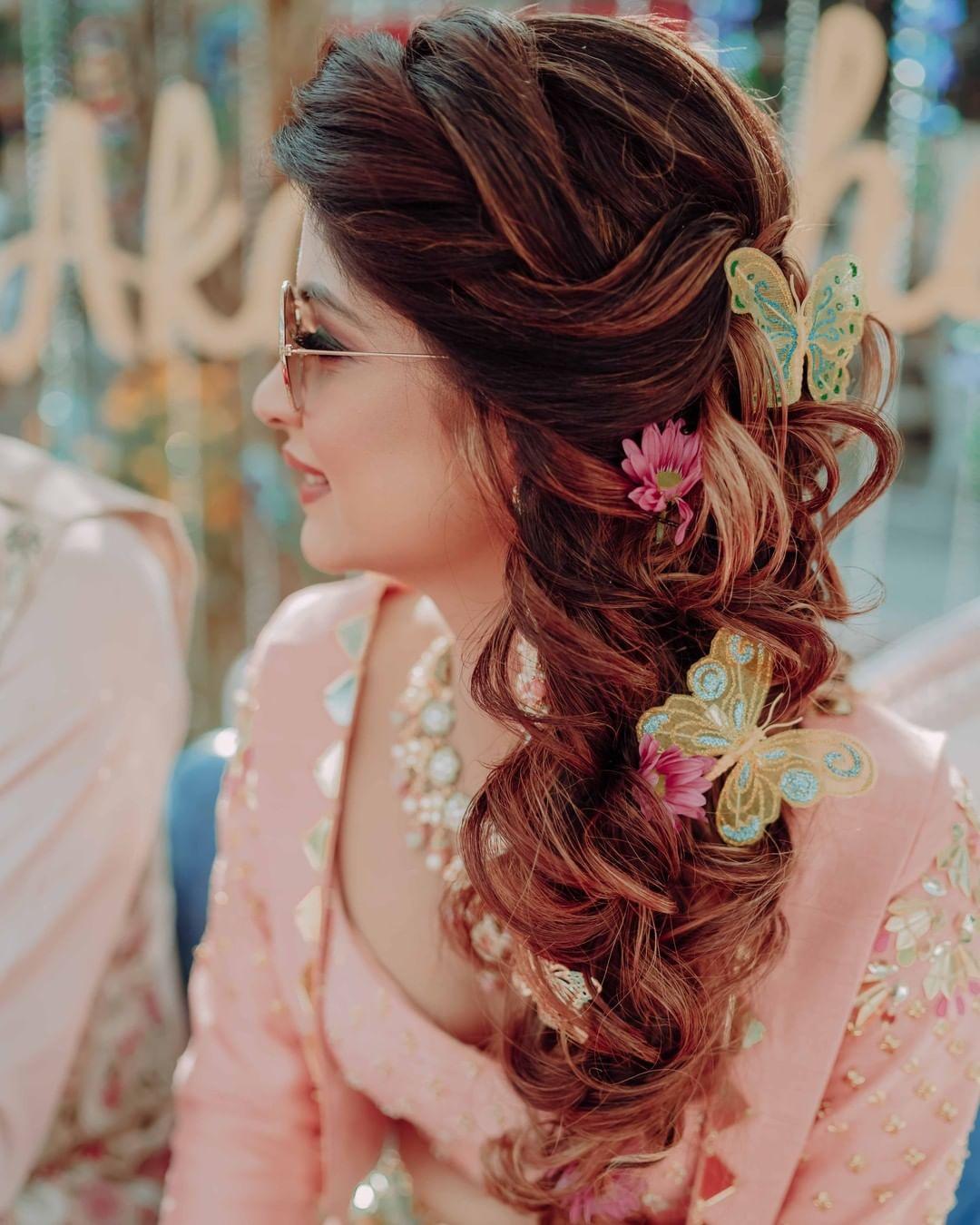 butterfly hairstyle for bridal look