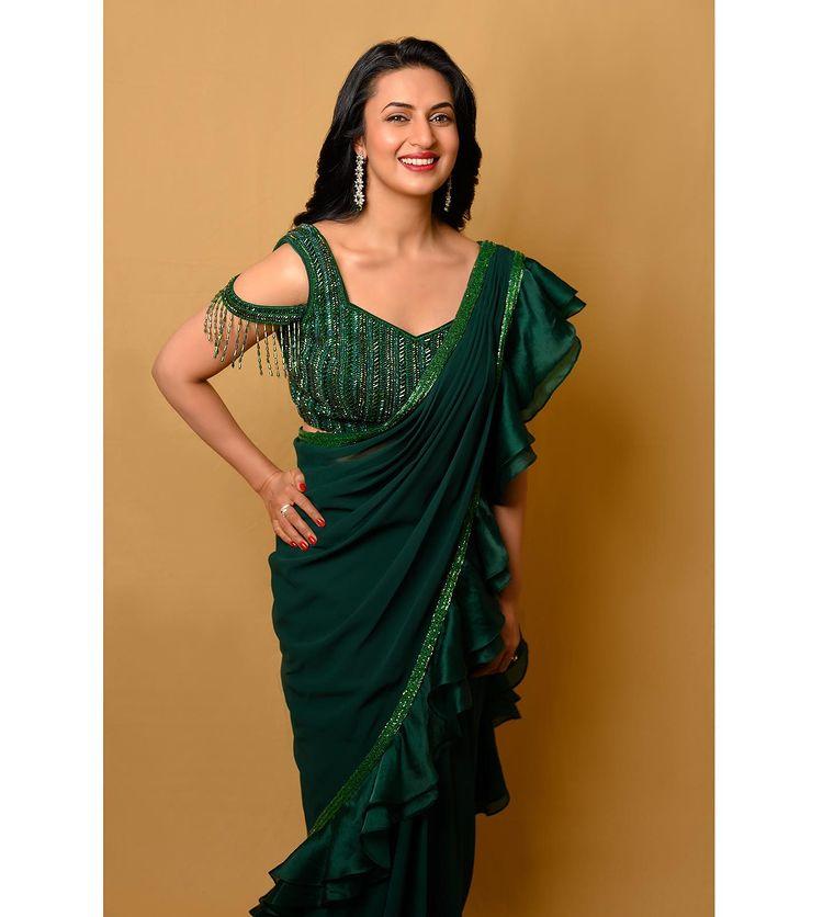 deep Green Bridesmaids Saree