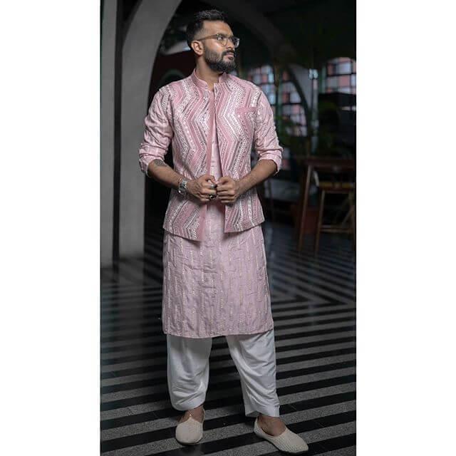 designer pastel nehru jacket
