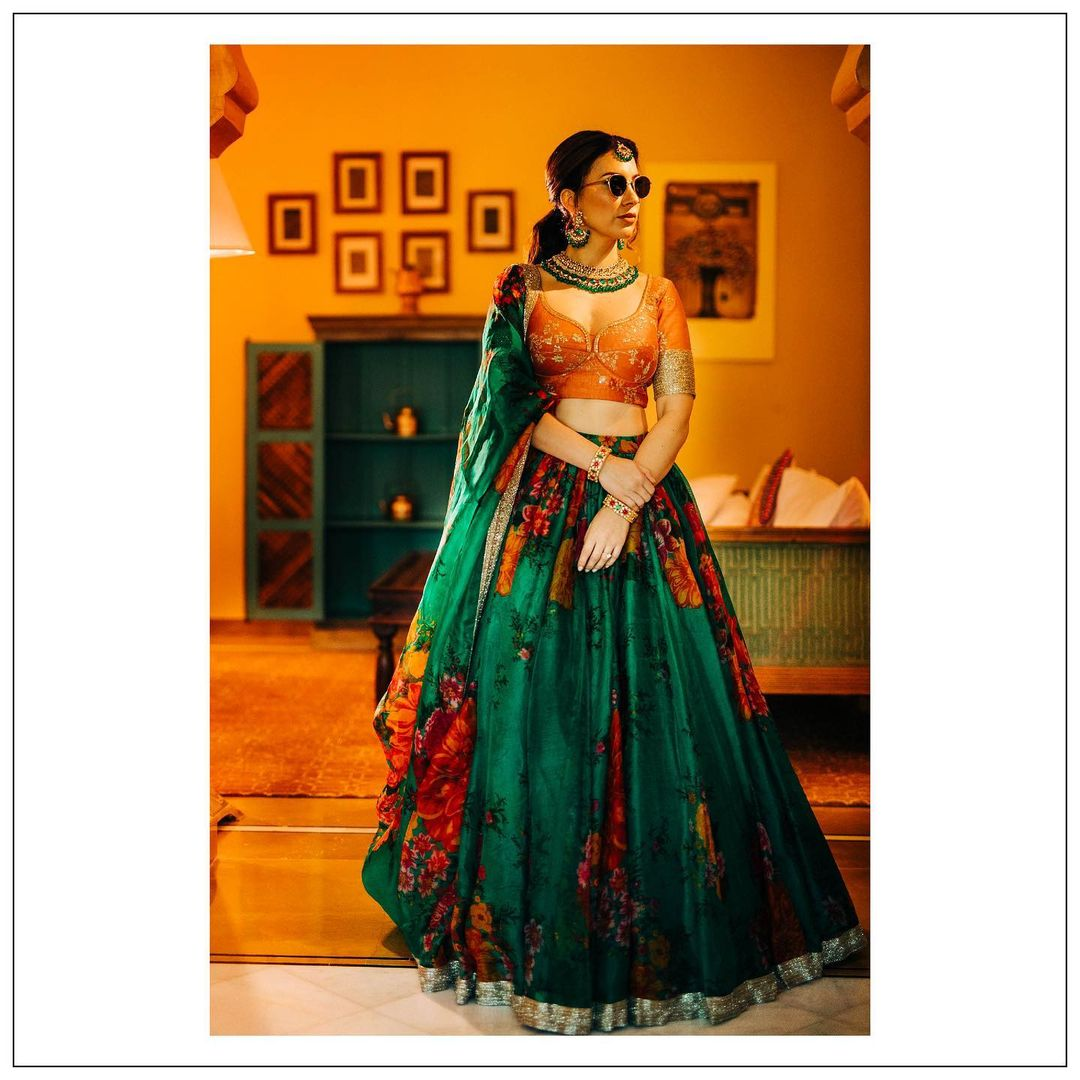 green and orange lehenga