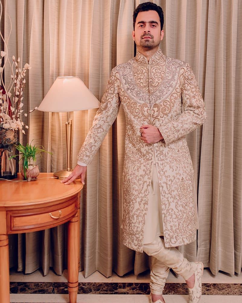 ivory embroidered groom sherwani