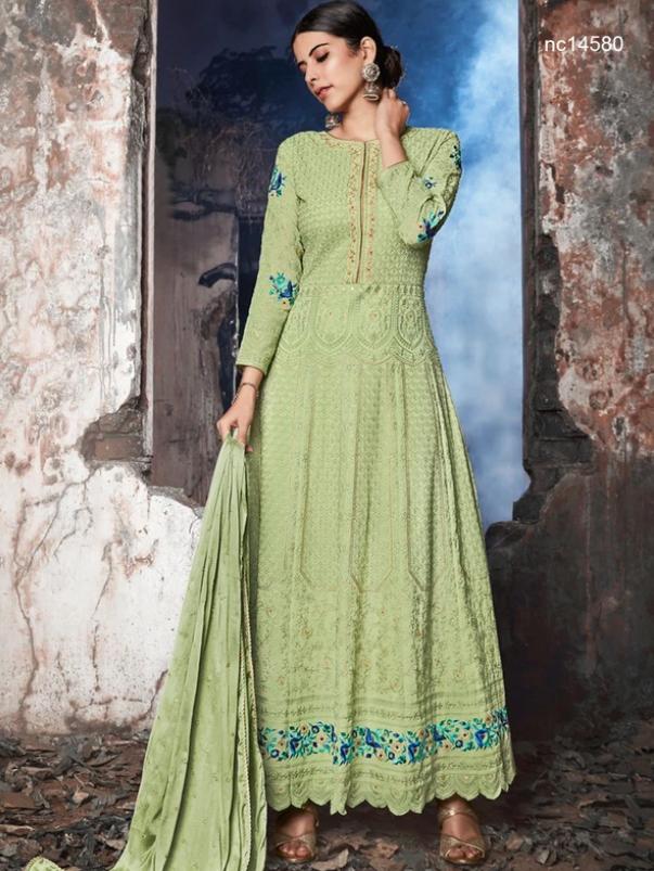 light green Anarkali Suit