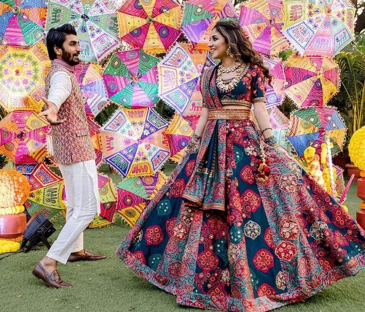 multicolored bridal lehenga