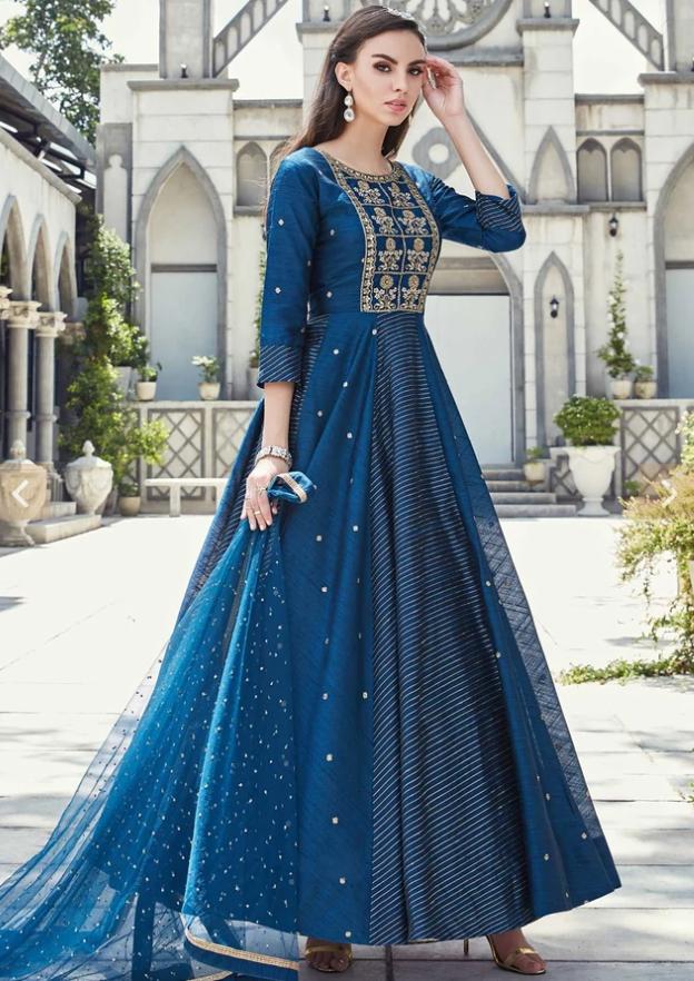 navy blue Anarkali outfits