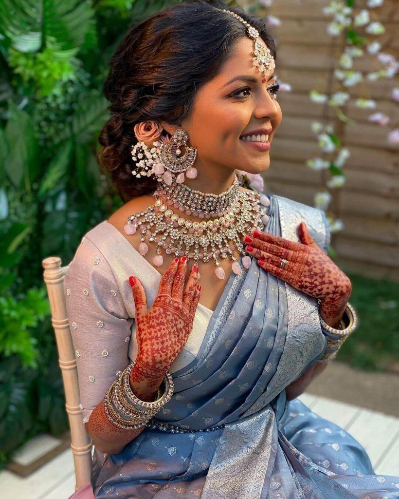 bridal pastel saree