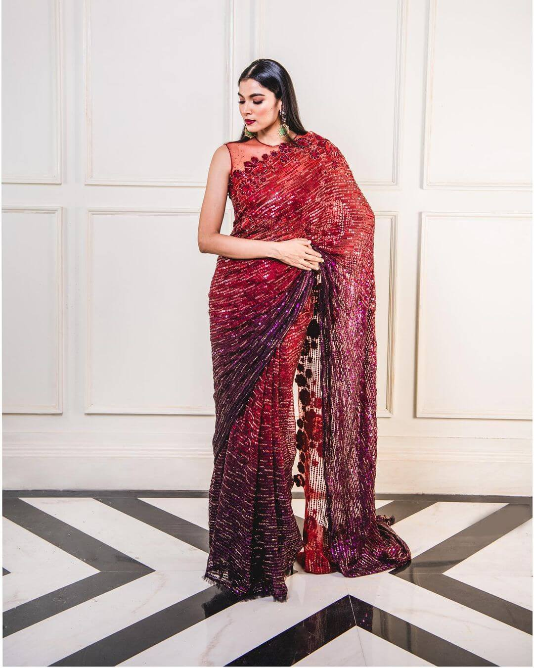 red ombre saree