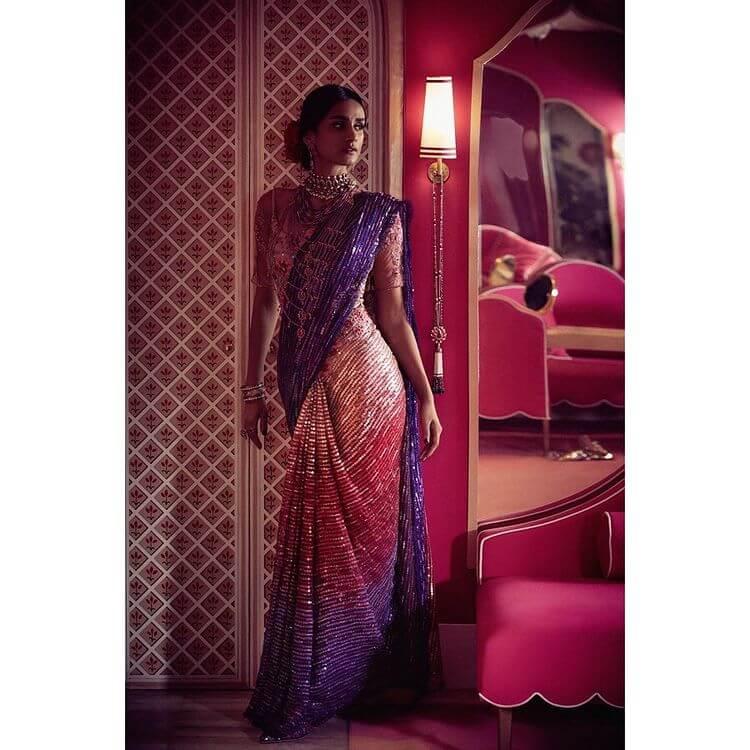 bridal ombre saree