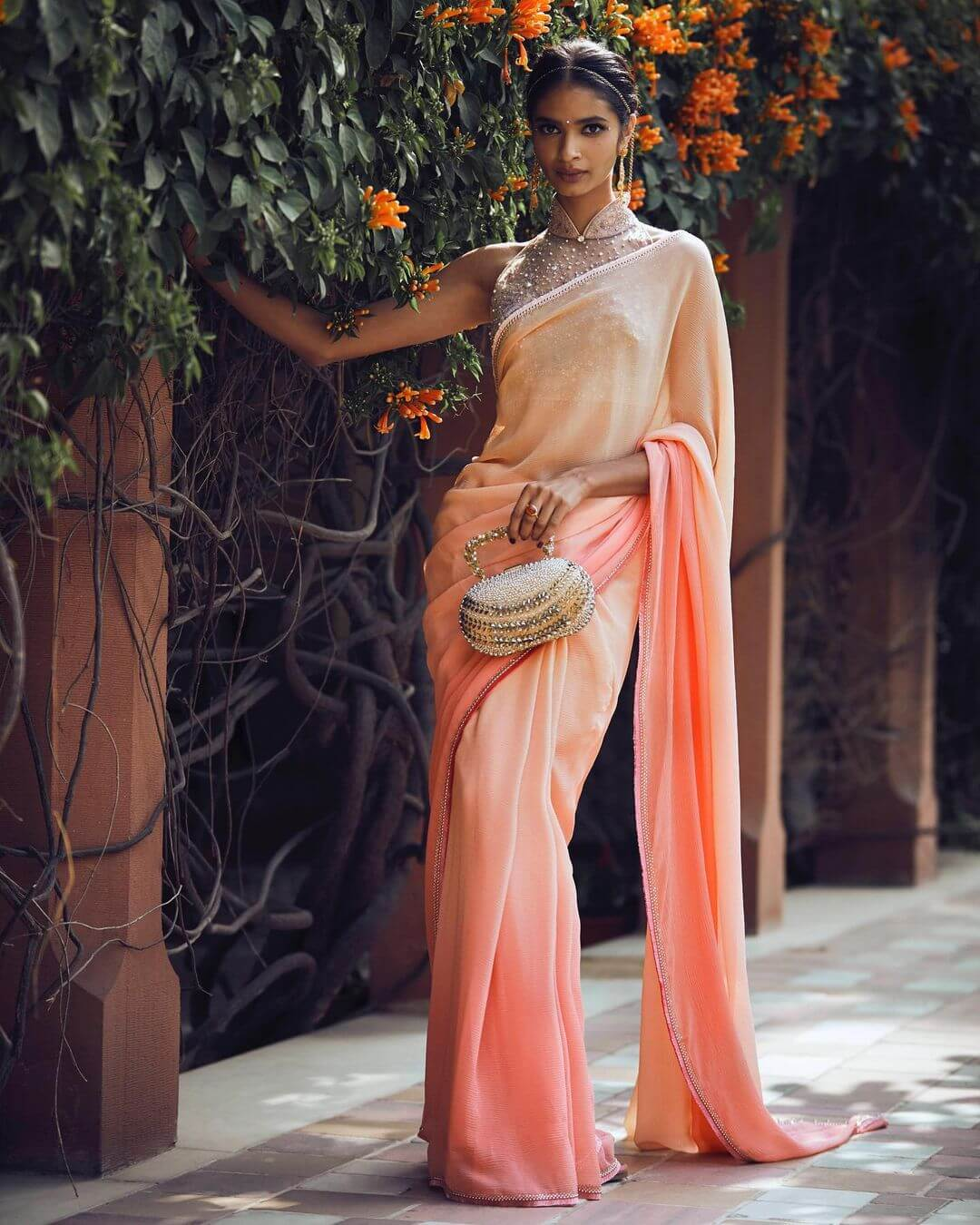 peach ombre saree