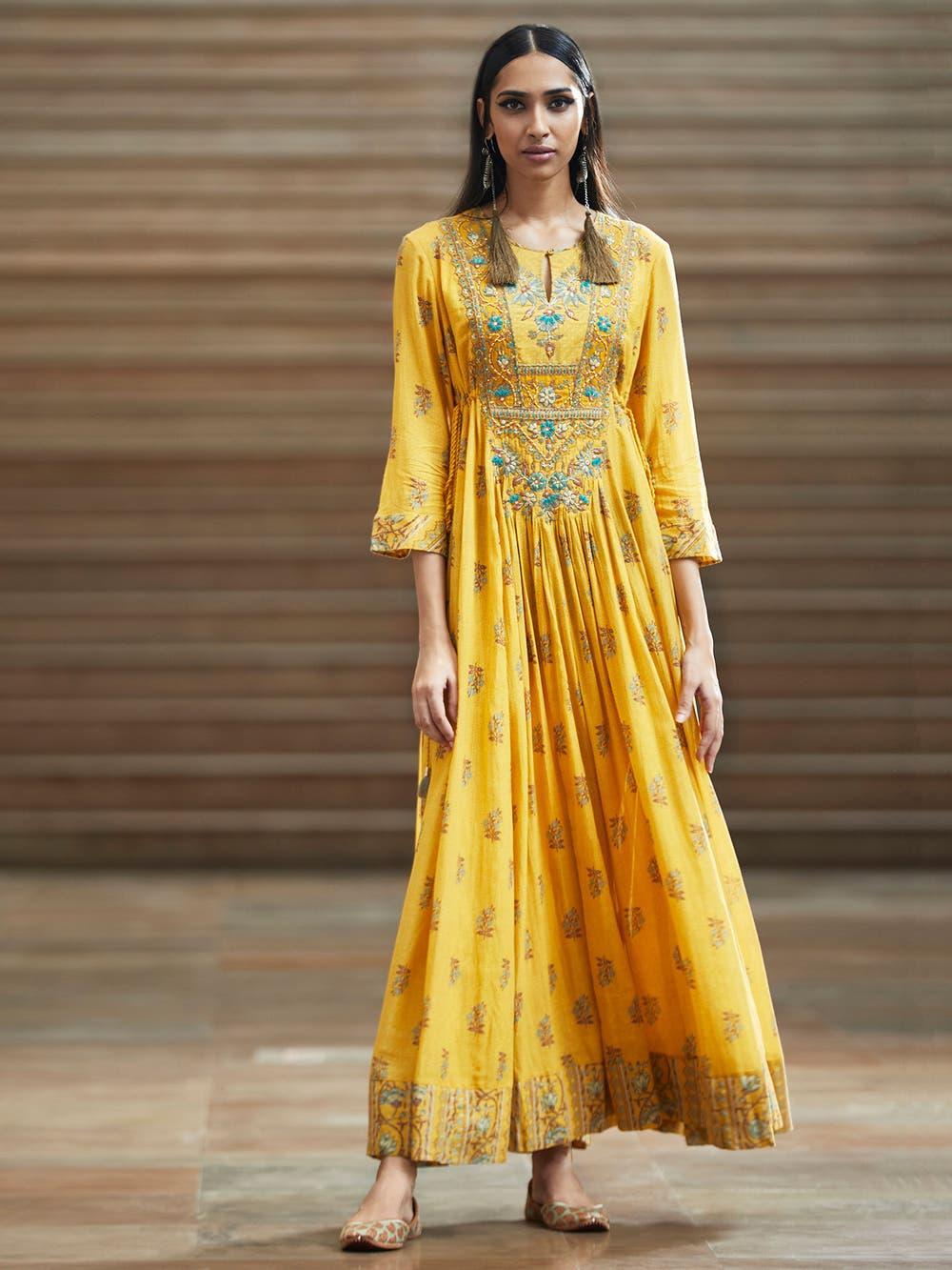 yellow Anarkali outfits
