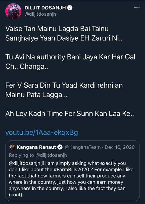 Diljit Kangana Twitter