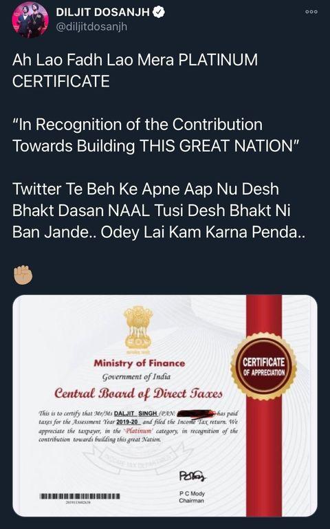 Diljit Tax Certificate