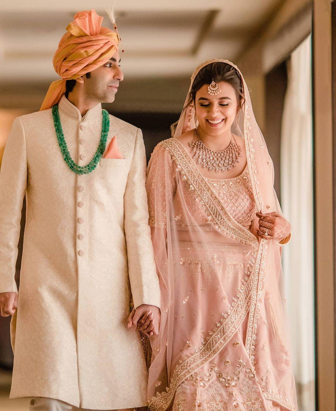 Matching pastel wedding outfits Pankaj Advani