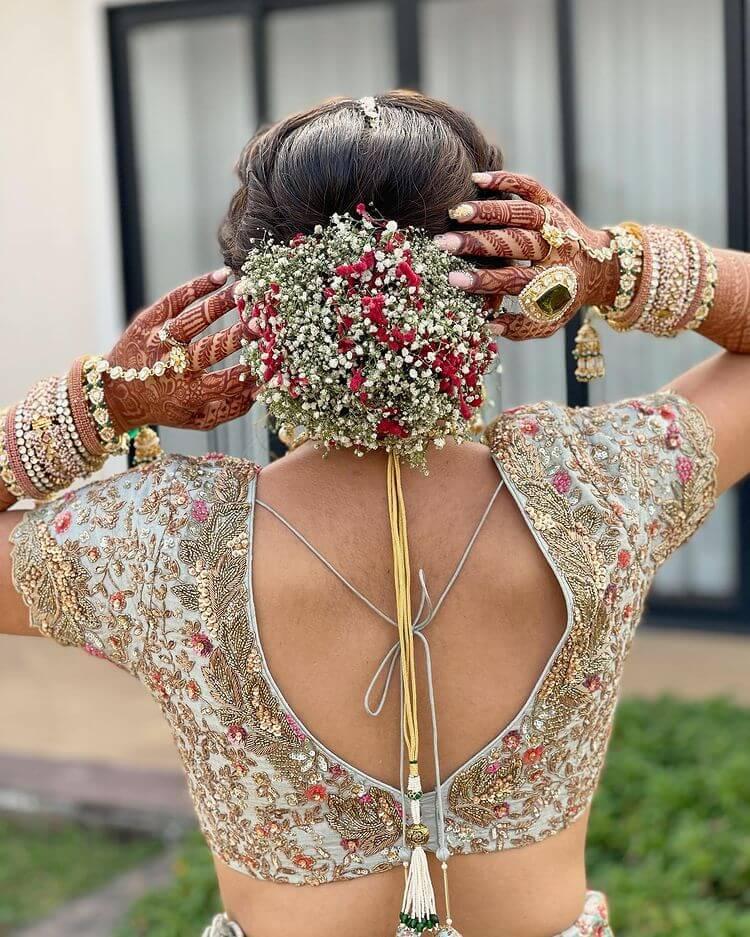 bridal floral buns
