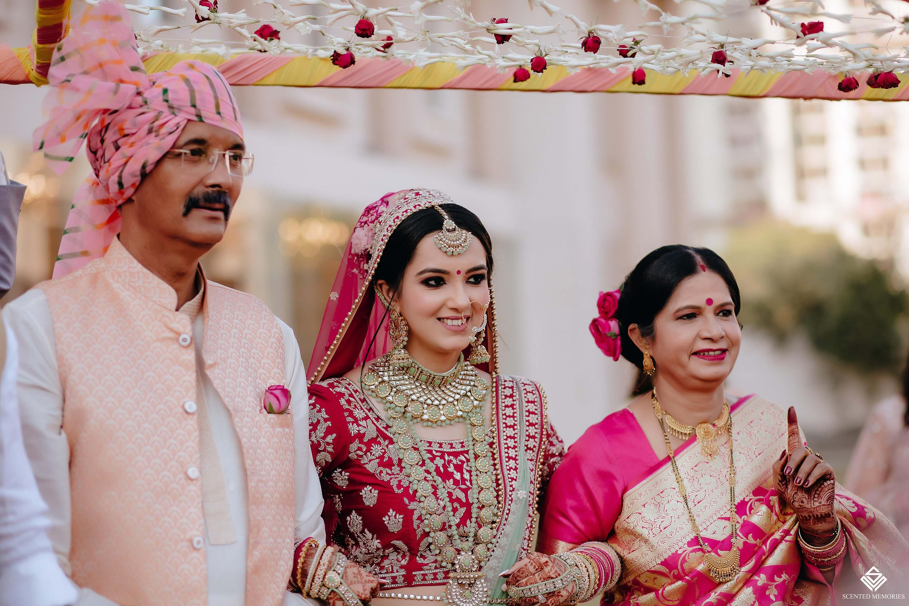 bridal entry with parents