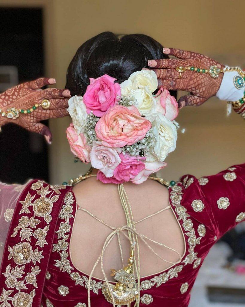 floral buns for brides