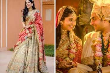 bride in red and olive green lehenga