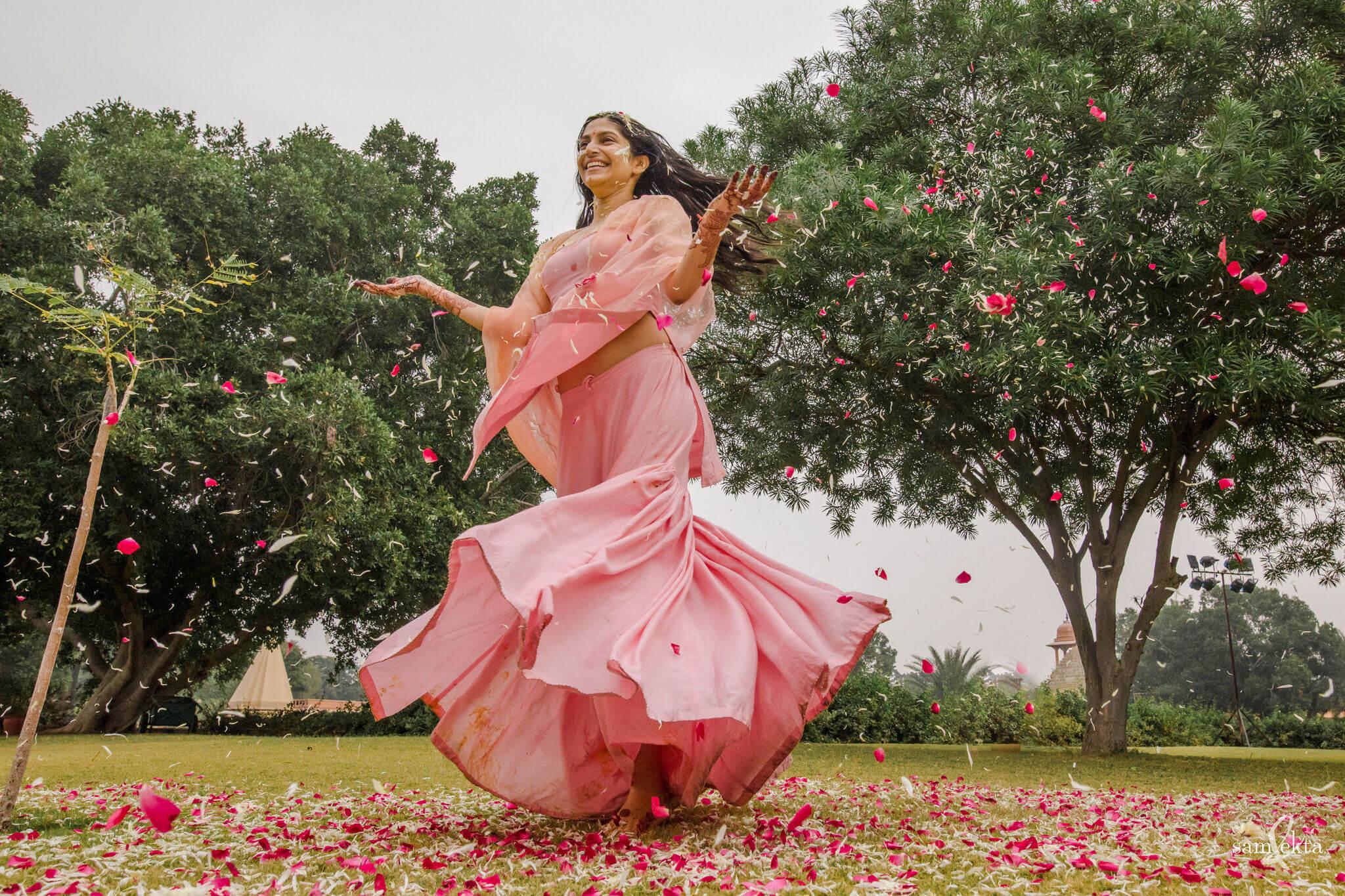 bride twirling shot