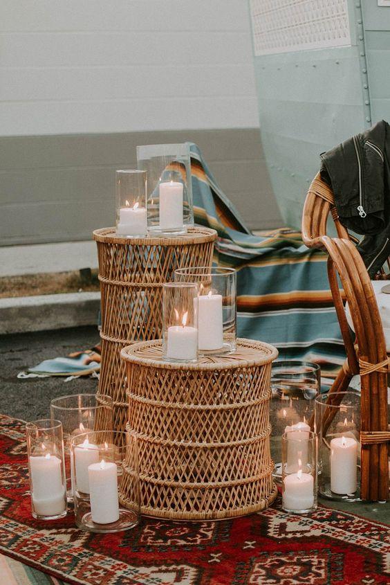 candle light wicker basket decor
