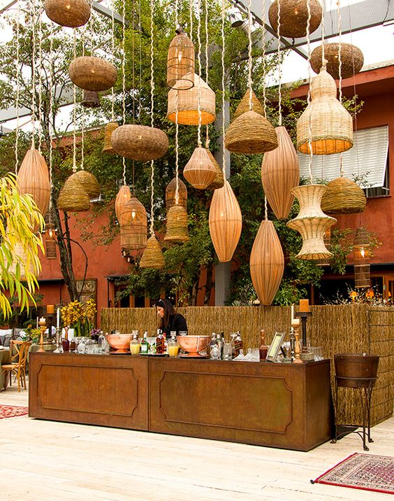 cane & wicker baskets as ceiling decor