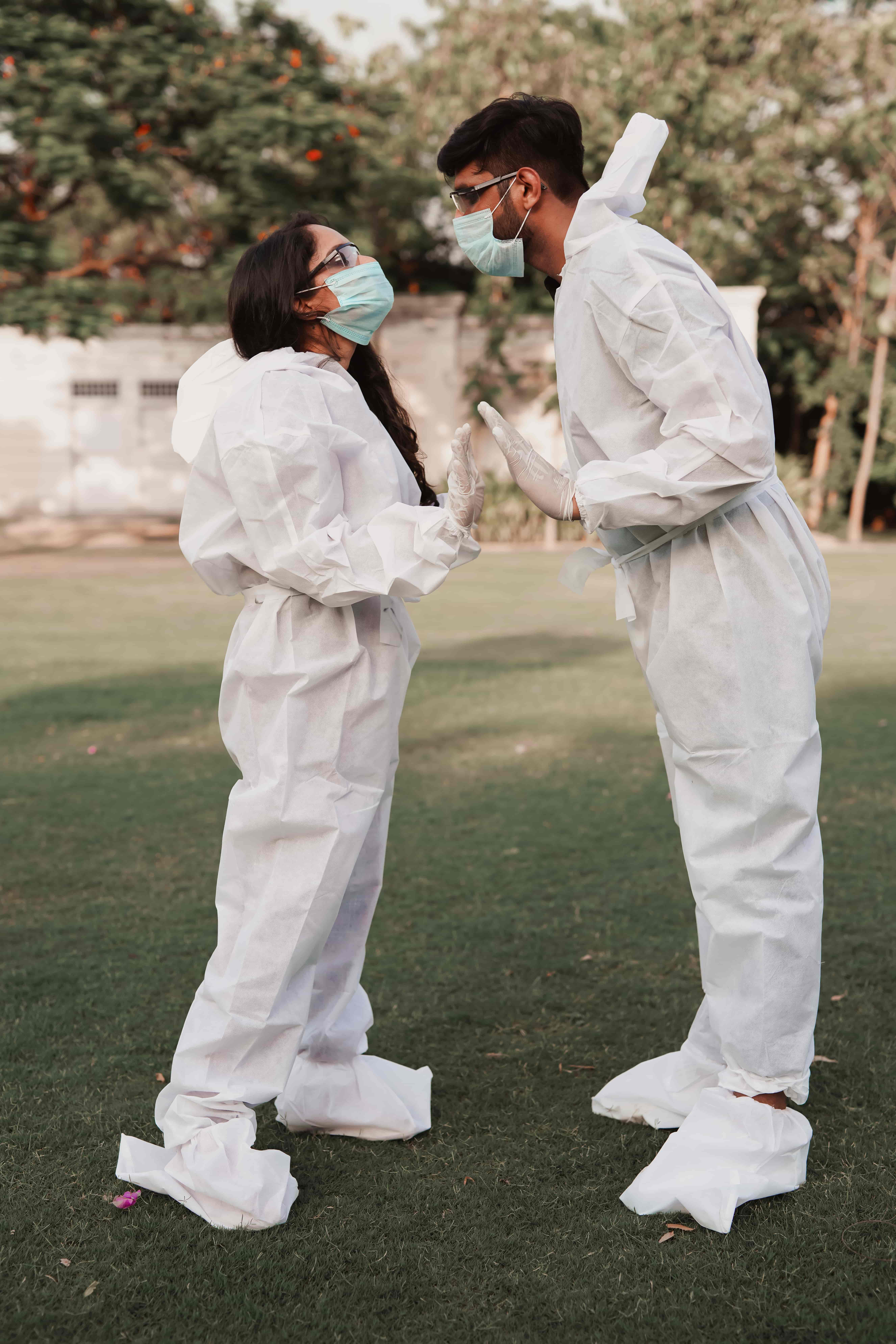 couples in PPE kit