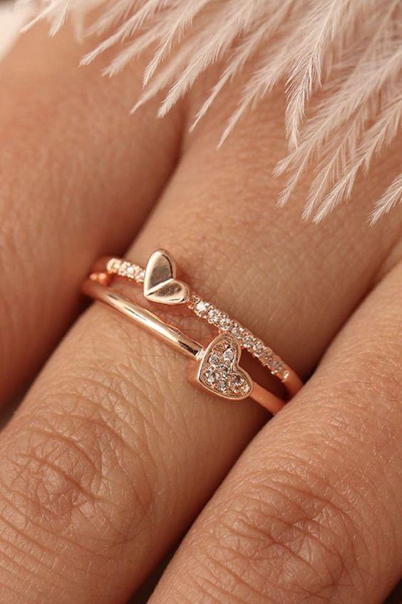 dainty heart shaped ring