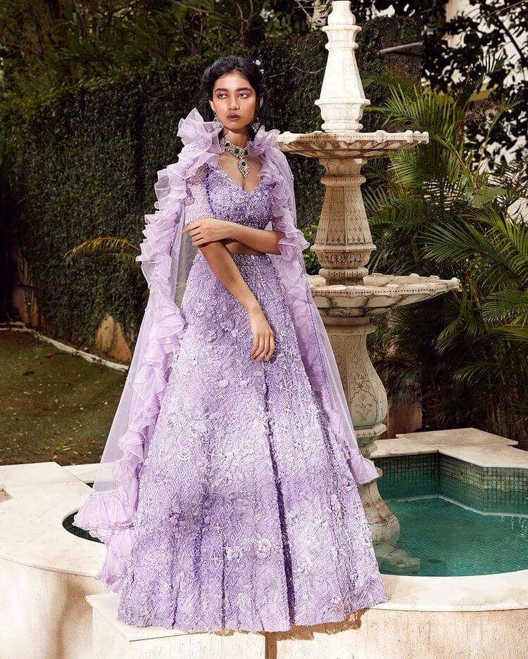 embroidered lavender lehenga