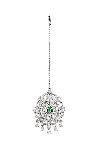 emerald and diamond mang tikka