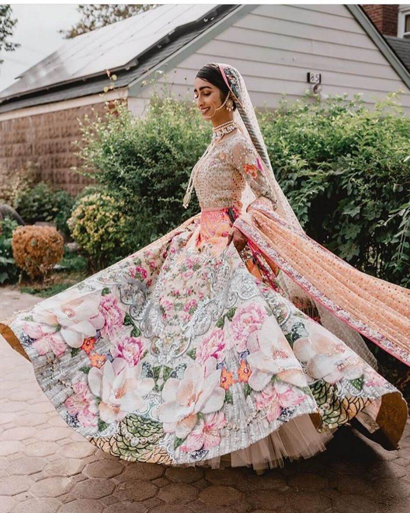 floral bridal lehenga
