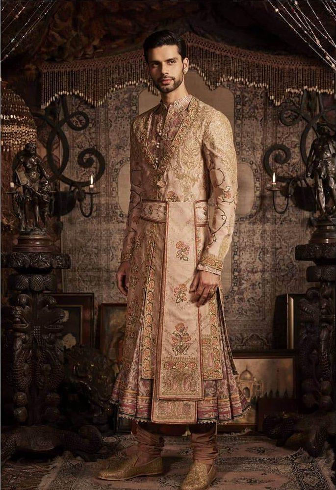 groom sherwani with belt