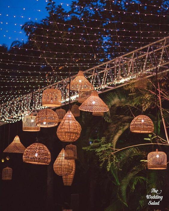 lighting wicker basket decor