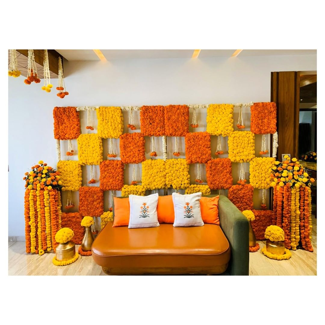 marigold backdrop wedding decor