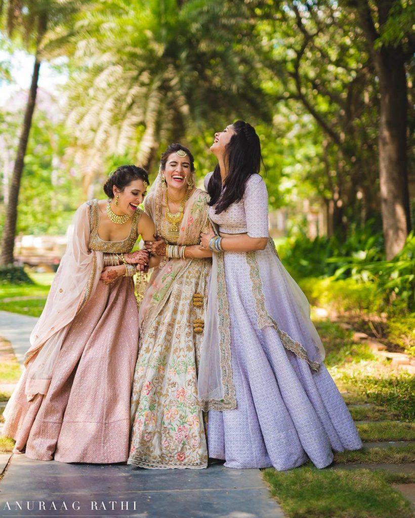 pastel lehengas for bridesmaids